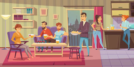 Illustration pour Home party flat vector illustration. Friends at house party. People relaxing in apartment living room composition. Male and female characters drinking alcohol beverages and eating snacks - image libre de droit