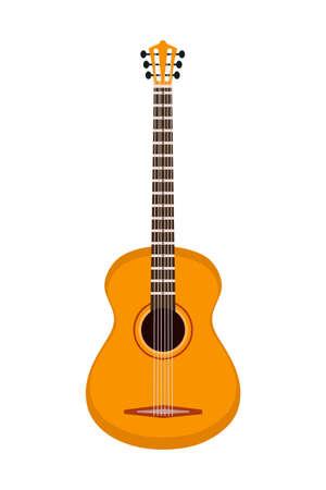 Illustration pour Six-stringed guitar isolated on white background - image libre de droit