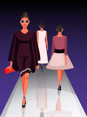 Illustration for Models showing new clothes trendy outfit. Beautiful women walking on catwalk. Fashion trends review show. Podium under spotlights. Vector illustration - Royalty Free Image