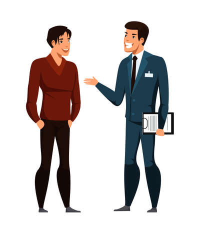 Illustration pour Dealer agent talking to customer buyer isolated on white - image libre de droit