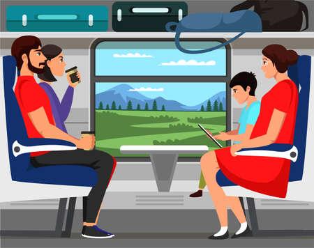 Illustration pour People train passengers characters scene flat set - image libre de droit
