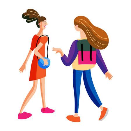 Teenage girls friends having nice conversation