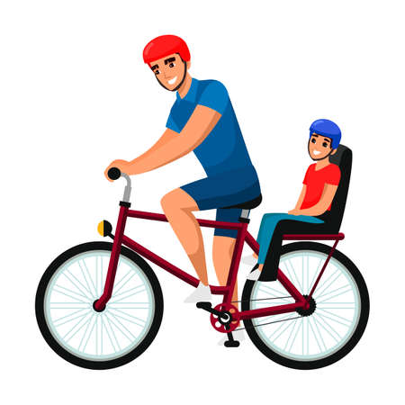 Illustration pour Father cycling cheerful child on bike outdoor - image libre de droit