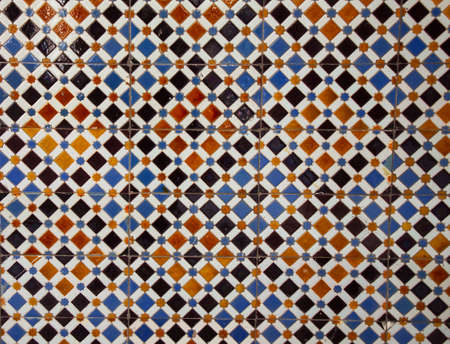 Photo for Azulejo background. Azulejo is a typical ornament of Portuguese and Spanish architecture. Azulejo is a ceramic tile not very thick with a glazed and decorated surface. - Royalty Free Image