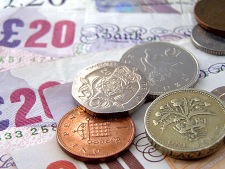 British Pounds banknotes and coins