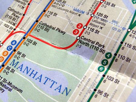 Subway map of the New York underground metro tube network