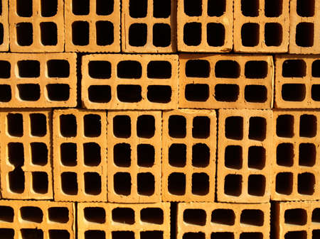 Range of red bricks (used as construction material)