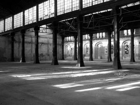 Abandoned factory architecture - in black and white