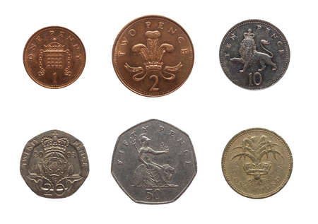 Full range of British coins from 1 Penny to 1 Pound isolated over white