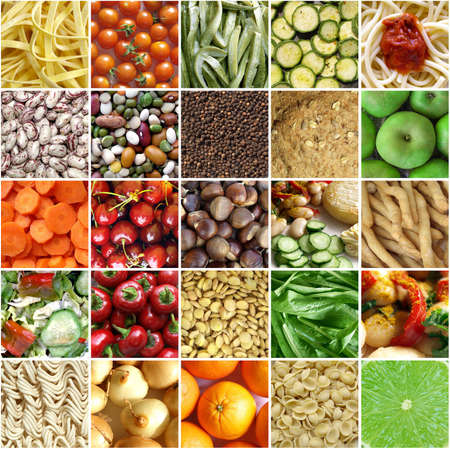 Foto de Food collage including pictures of vegetables, fruit, pasta - Imagen libre de derechos