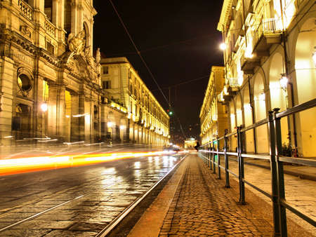 Via Po, ancient central baroque street in Turin (Torino) - at night - high dynamic range HDR