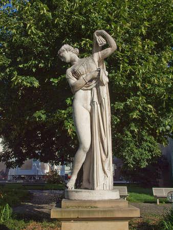 Ancient statue of Venus Aphrodite in the Oberer Schlossgarten park in Stuttgart, Germany