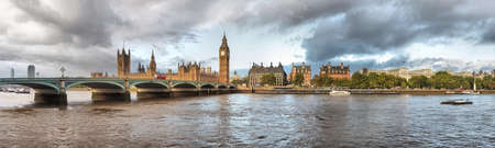 High Dynamic Range (HDR) panoramic view of the River Thames, Houses of Parliament and the Big Ben, Westminster Bridge in London