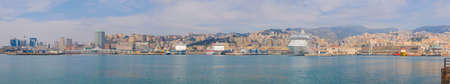 Wide panoramic view of the city of Genoa skyline from the sea