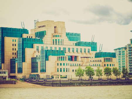 Vintage looking SIS MI6 headquarters of British Secret Intelligence Service at Vauxhall Cross London