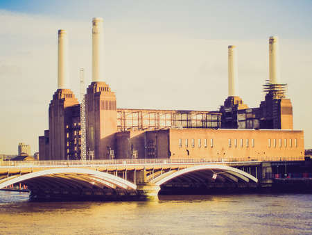 Vintage looking Picture of London Battersea powerstation abandoned factory