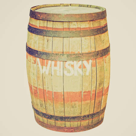 Vintage looking Old wooden barrel cask for whiskey or beer or wine - isolated over white