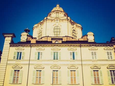 Vintage looking Baroque church of San Lorenzo in Turin