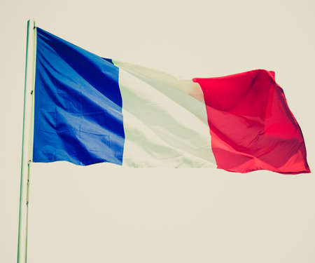 Vintage retro looking The national French flag of France (FR) - isolated over white background