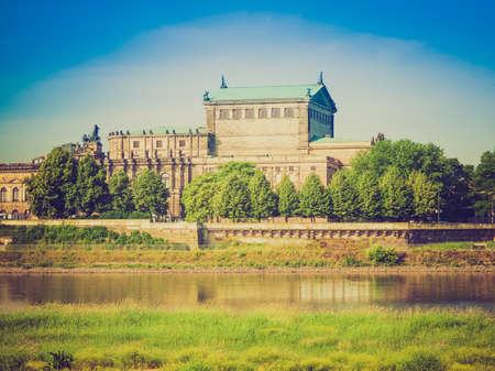 The Semperoper opera house of the Saxon State Orchestra aka Saechsische Staatsoper Dresden was designed by Gottfried Semper in 1841