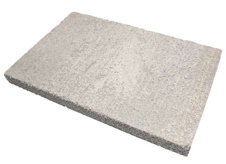 Lightweight areated foamed concrete panel isolated over white background