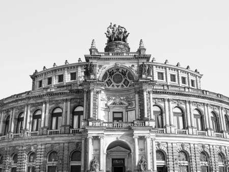 The Semperoper opera house of the Saxon State Orchestra aka Saechsische Staatsoper Dresden was designed by Gottfried Semper in 1841 in black and white