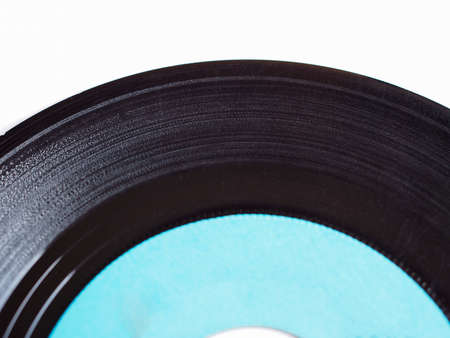 Vinyl record vintage analog music recording medium with blue label