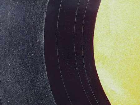 Detail of Vinyl record vintage analog music recording medium