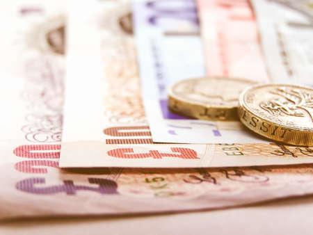Photo pour Detail of Euro and Pounds money currency vintage - image libre de droit