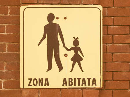 Italian residential area (Zone abitata) sign over a wall vintage