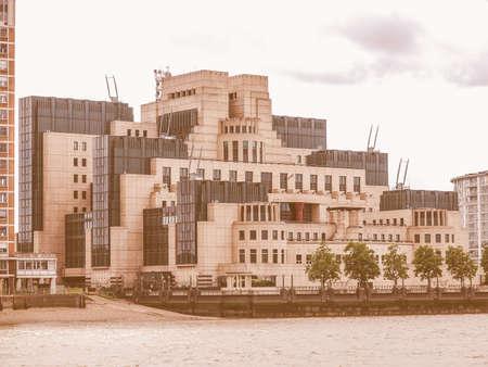 SIS MI6 headquarters of British Secret Intelligence Service at Vauxhall Cross London vintage