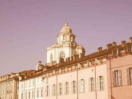Baroque church of San Lorenzo in Turin (Torino) vintage