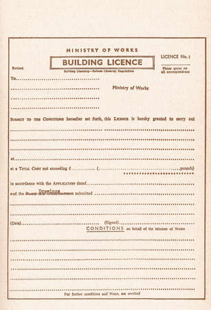Vintage blank Building Licence, aka Planning Permission or Building Permit for construction works vintage