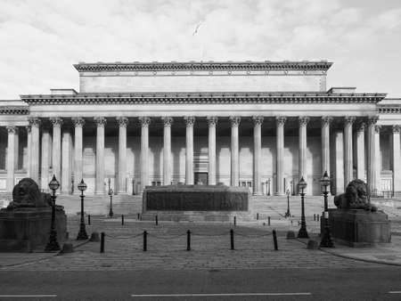 St George Hall concert halls and law courts on Lime Street in Liverpool, UK in black and white