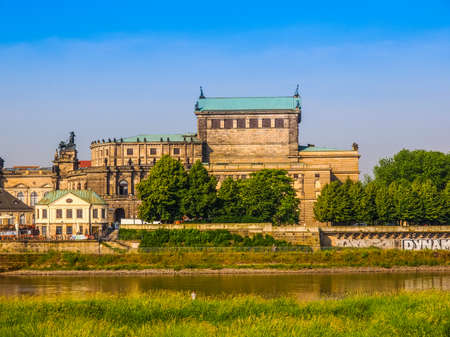 DRESDEN, GERMANY - JUNE 11, 2014: The Semperoper opera house of the Saxon State Orchestra aka Saechsische Staatsoper Dresden was designed by Gottfried Semper in 1841 (HDR)