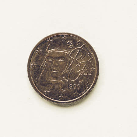 Vintage looking Currency of Europe 2 cent coin from France