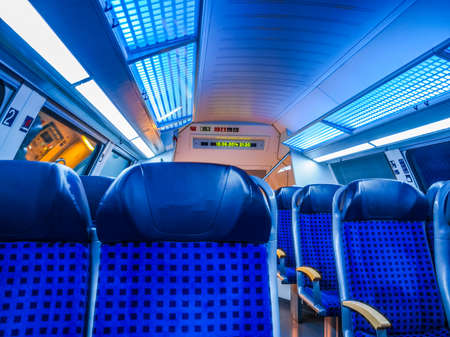 DRESDEN, GERMANY - JUNE 10, 2014: Regional train interior in Saxony Germany Europe (HDR)