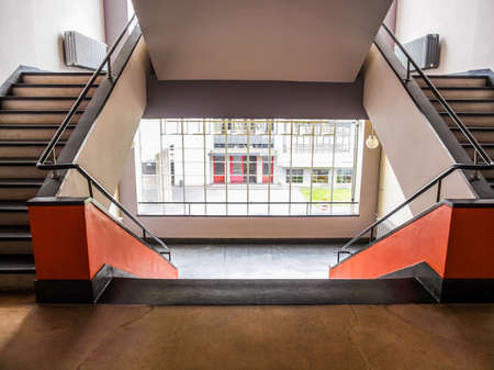 DESSAU, GERMANY - JUNE 13, 2014: The Bauhaus art school iconic building designed by architect Walter Gropius in 1925 is a listed masterpiece of modern architecture (HDR)