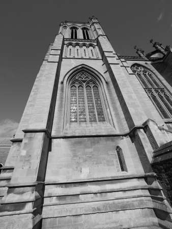 Bristol Cathedral (formally the Cathedral Church of the Holy and Undivided Trinity) in Bristol, UK in black and white