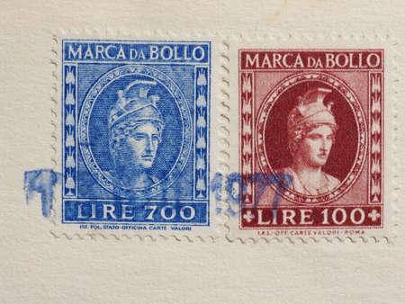 ROME, ITALY - CIRCA MARCH 2017: Two vintage Italian marca da bollo (meaning Tax stamp)