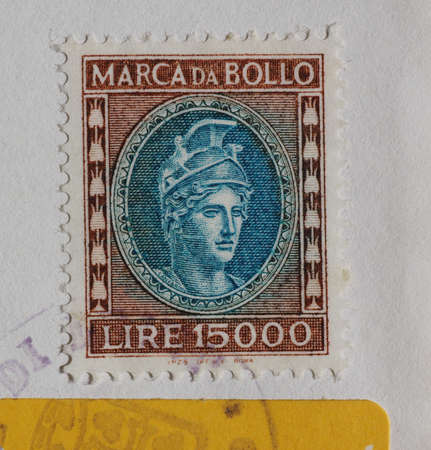 ROME, ITALY - CIRCA MARCH 2017: Italian marca da bollo (meaning Tax stamp)