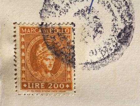 MILAN, ITALY - CIRCA JANUARY 2017: Cancelled Italian tax stamp (marca da bollo, in Italian) on an ancient document