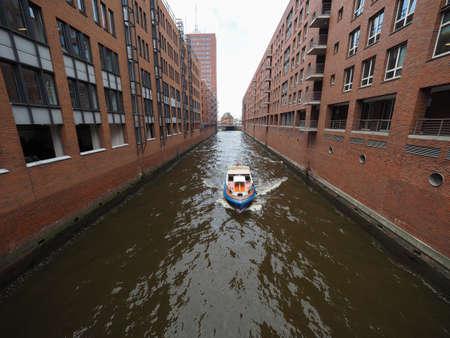 HAMBURG, GERMANY - CIRCA MAY 2017: HafenCity quarter in the district of Hamburg Mitte on the Elbe river island Grasbrook on former Hamburger Hafen (Port of Hamburg)