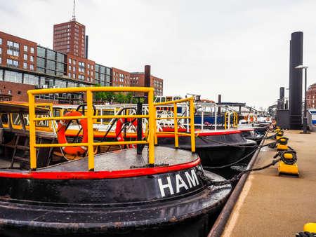 HAMBURG, GERMANY - CIRCA MAY 2017: HafenCity quarter in the district of Hamburg Mitte on the Elbe river island Grasbrook on former Hamburger Hafen (Port of Hamburg), hdr