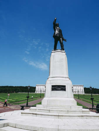 BELFAST, UK - CIRCA JUNE 2018: Lord Carson statue in front of Stormont Parliament