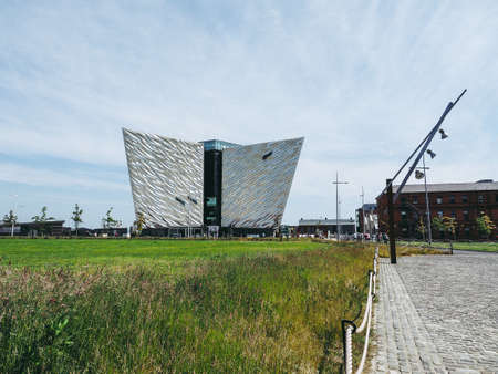 BELFAST, UK - CIRCA JUNE 2018: Titanic Belfast centre on the site of the former Harland Wolff shipyard where the RMS Titanic was built