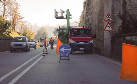 MONTA D'ALBA, ITALY - CIRCA DECEMBER 2018: Roadworks for plant pruning