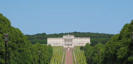 Aerial view of Parliament Buildings (aka as Stormont) in Belfast, UK