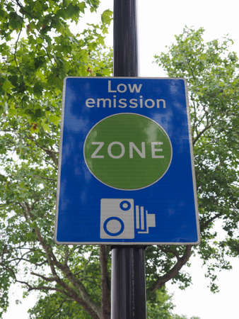 Photo for Low emission zone sign in London, UK - Royalty Free Image