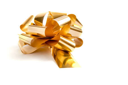 Foto per Gold bow on white background - Immagine Royalty Free